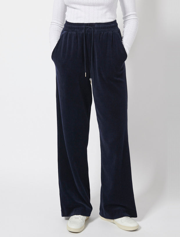 Organic Cotton Corded Velour Wide Leg Pant