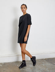 Organic cotton women's oversized T shirt black dress