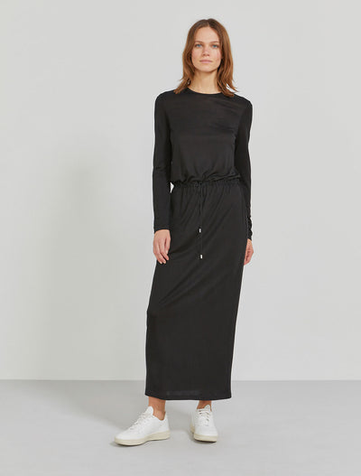 Women's TENCEL drawcord waist maxi dress