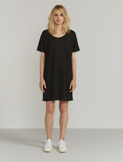 Women's Tencel slouchy scoop neck black T shirt dress