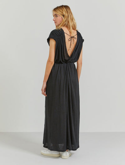 Natural linen low-back maxi dress