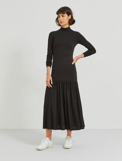 tencel stretch jersey funnel neck dress