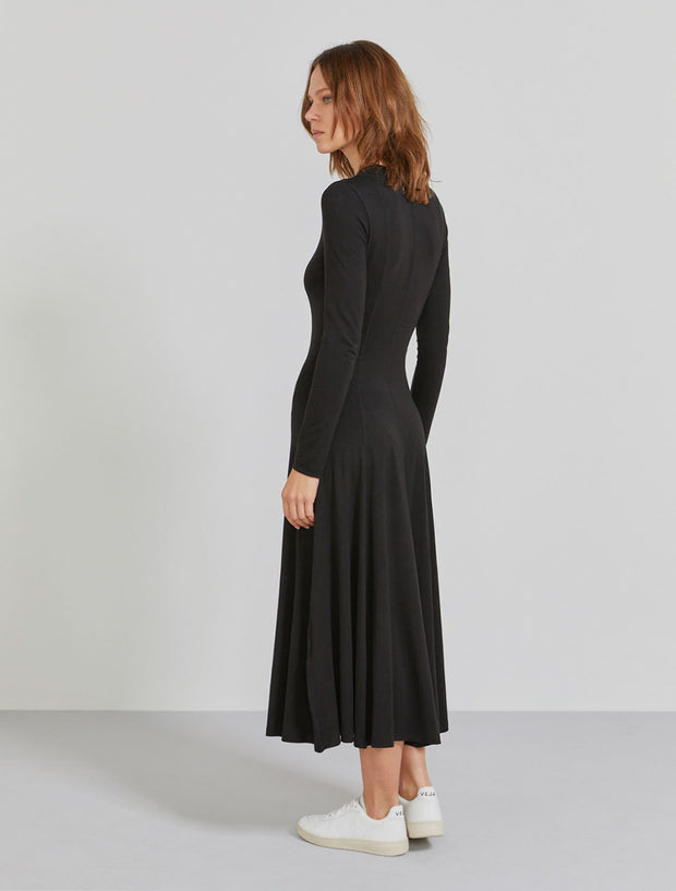 Women's TENCEL jersey long sleeve black dress