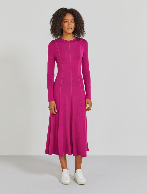 Women's TENCEL jersey long sleeve magenta dress