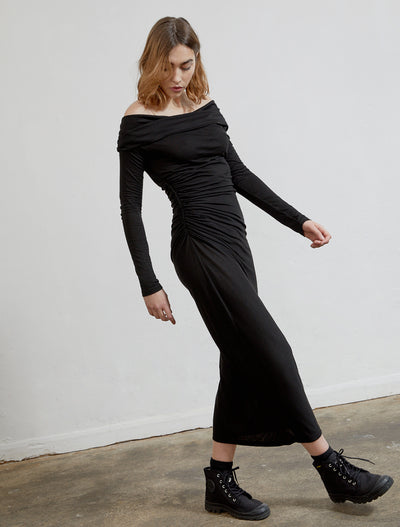 Women's Tencel jersey off-the-shoulder dress