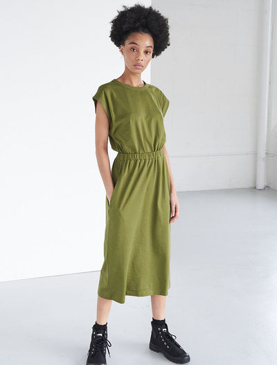 Organic Cotton Dart Shoulder T-Shirt Dress
