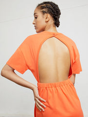 Organic cotton open back oversized summer T dress
