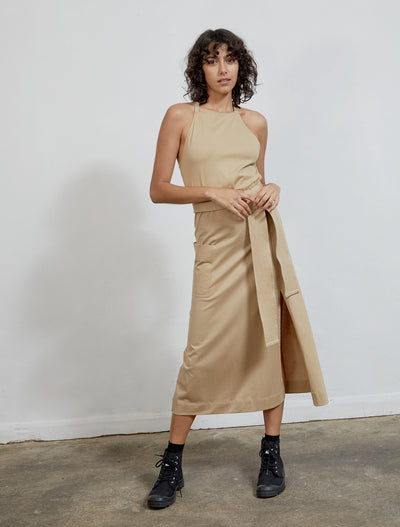 Women's Organic cotton khaki apron dress