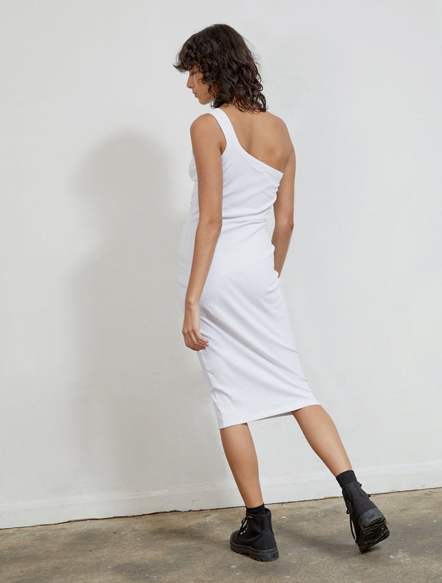 s ribbed organic cotton one shoulder dress