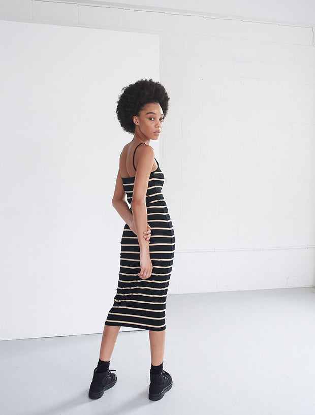 Organic Cotton Ribbed Striped Cami Dress