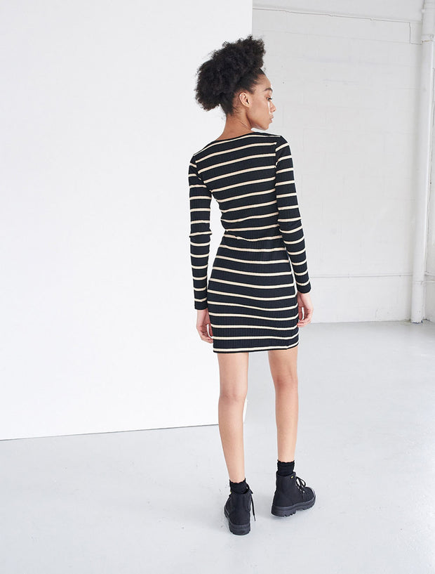 organic cotton ribbed striped henley dress