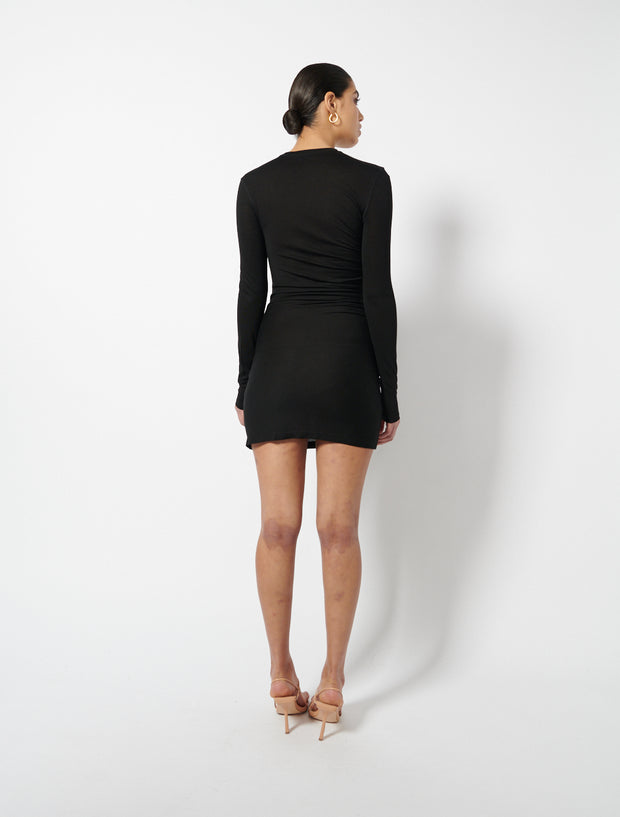 Tencel™ Crew Neck Ruched Dress