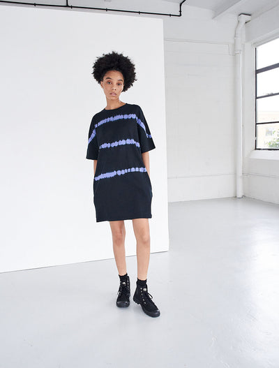 organic cotton tie dye striped oversized t shirt dress