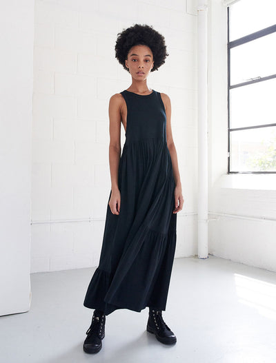Organic Cotton Patchwork Sleeveless Maxi Dress