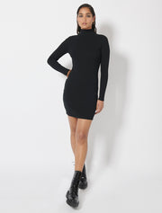 Organic Cotton Rib Roll Neck Dress