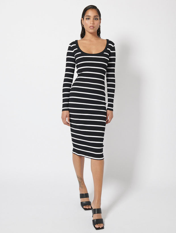 Organic Cotton Rib Scoop Neck Midi Dress