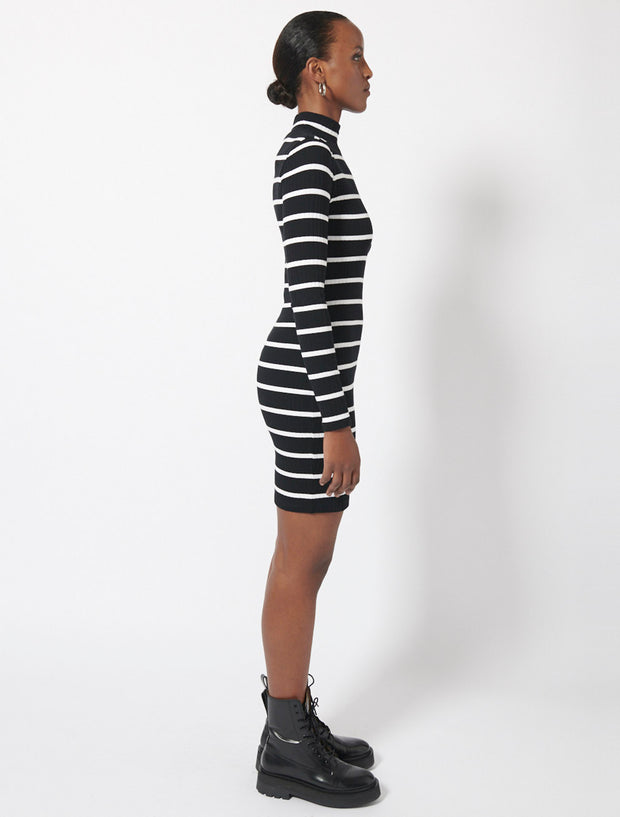 Organic Cotton Rib Stripe Roll Neck Dress