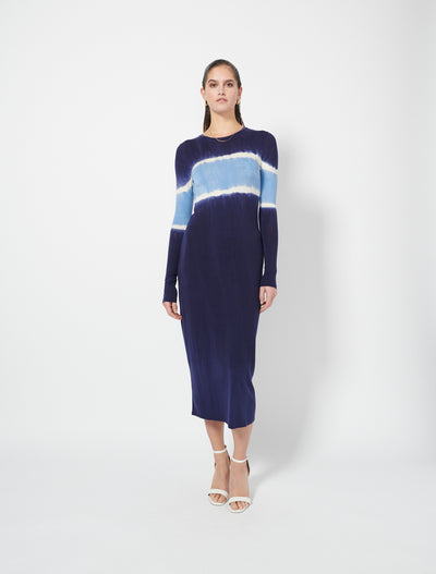Tencel™ Long Sleeve Tie Dye Midi Dress
