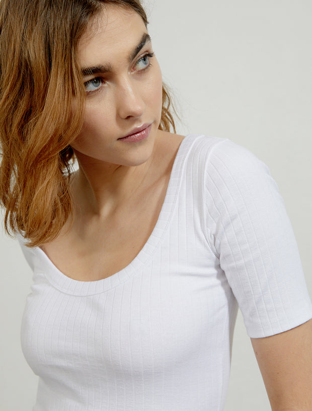 Women's Ribbed organic cotton short sleeve top