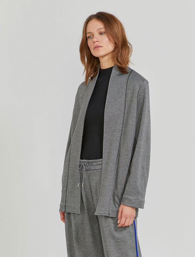 Women's Organic cotton and EcoVero twill jacquard grey blazer