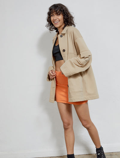 women's Organic cotton brown utility jacket