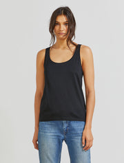 Women's Organic cotton classic fit scoop-neck black vest