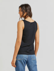 Women's Organic cotton classic fit scoop neck black vest