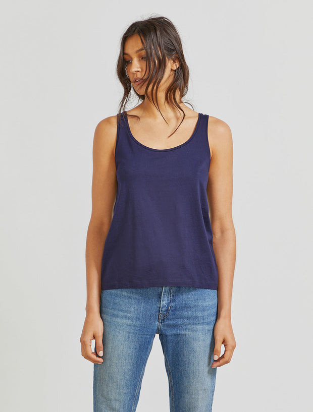 Women's Organic cotton classic fit scoop neck navy vest