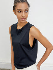 Women's Organic cotton boy fit black vest
