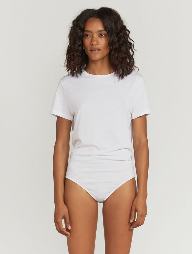 Women's Organic cotton white boy-fit body