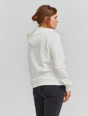 Organic cotton classic fit zip front off white hoodie