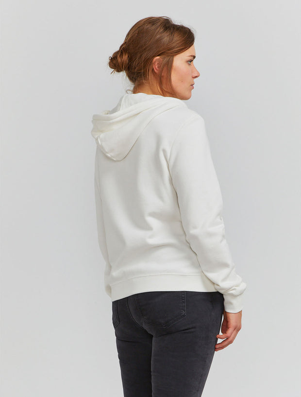 Organic cotton classic-fit zip-front off white hoodie