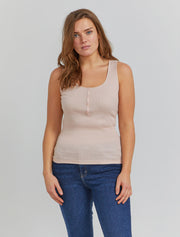 women's Organic cotton ribbed button front vest