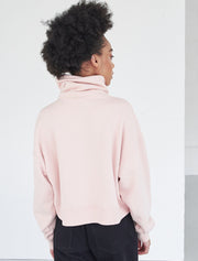 ls oversized cropped funnel neck sweatshirt