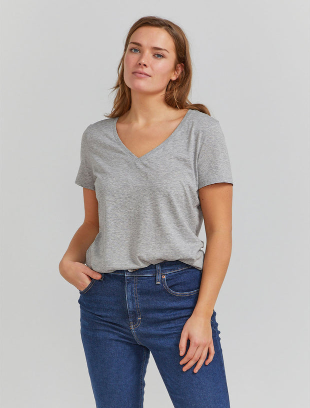 Women's Organic cotton classic fit V neck grey T shirt