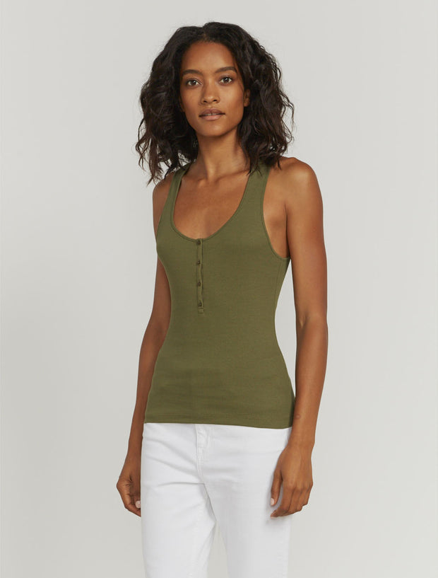 Organic cotton ribbed button-front vest