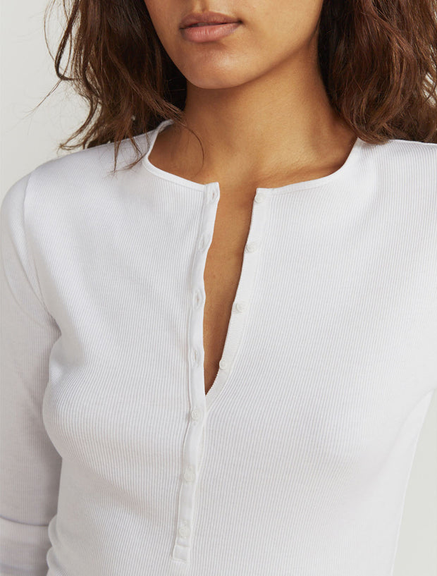 Women's Organic cotton ribbed button-front white top