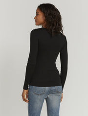 Women's Organic cotton ribbed button-front black top