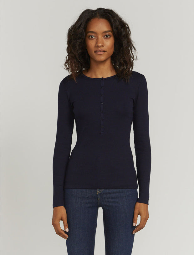Women's Organic cotton ribbed button-front top