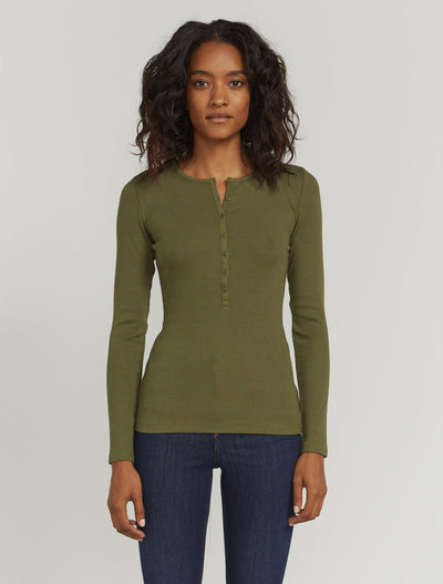 organic cotton ribbed button front top 1