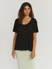 Women's Tencel slouchy scoop neck black T shirt