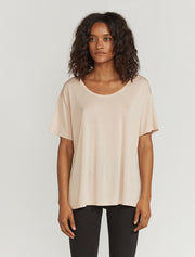 Women's Tencel slouchy scoop neck T shirt