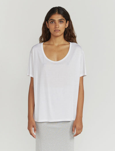 Women's Tencel slouchy scoop neck white T shirt