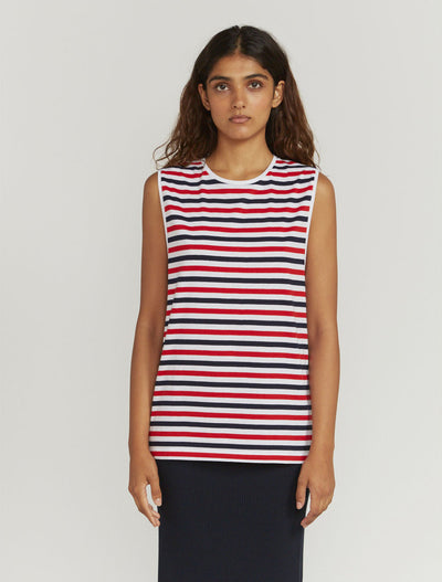 tri colour stripe muscle vest
