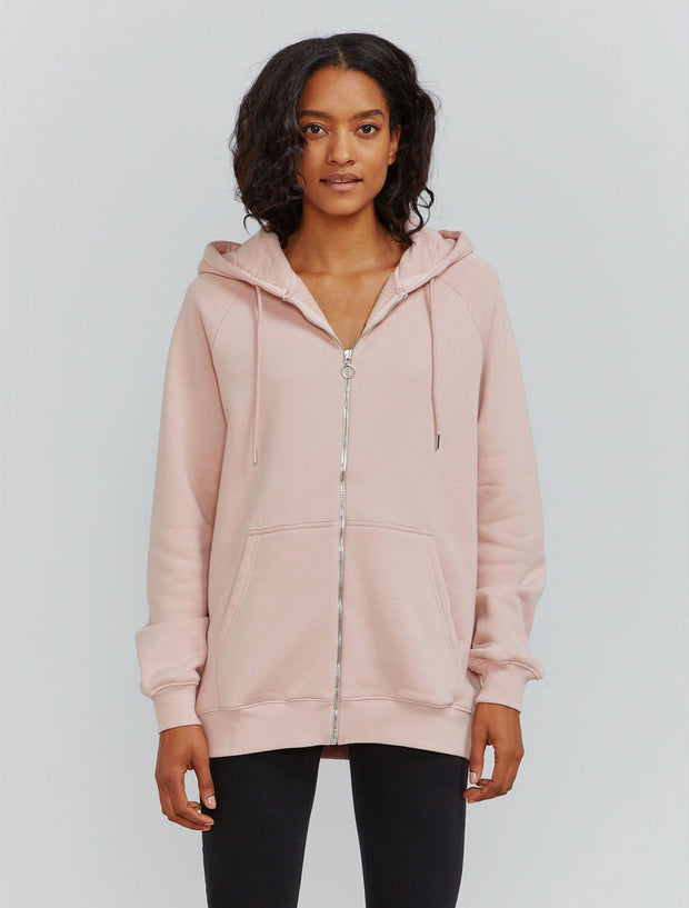 Women's Organic cotton boy-fit zip through hoodie