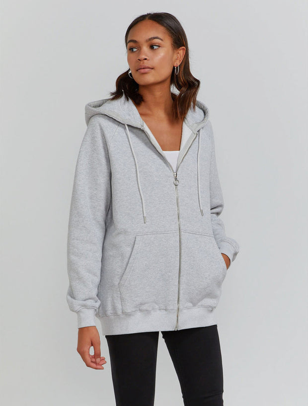 Women's Organic cotton boy-fit zip through grey  hoodie