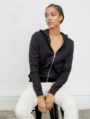 Women's Organic cotton classic-fit zip-front black hoodie