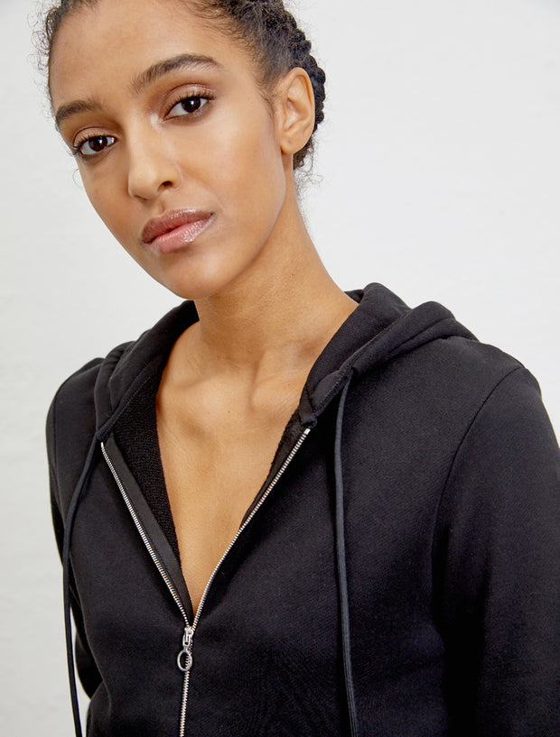 Women's Organic cotton classic fit zip front black hoodie