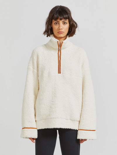 organic cotton fleece zip through top