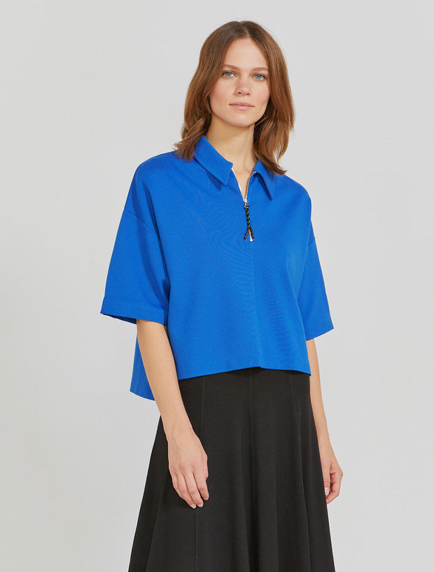 Women's EcoVero sharp-collar ponte T-shirt